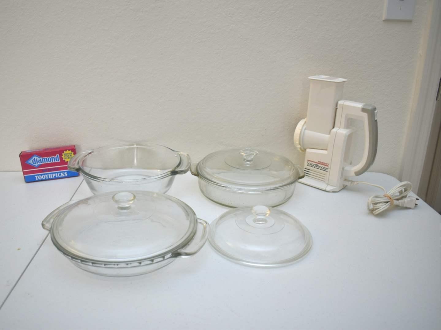 Anchorware & Pyrex Bowls, Toothpicks, Presto Saladshooter