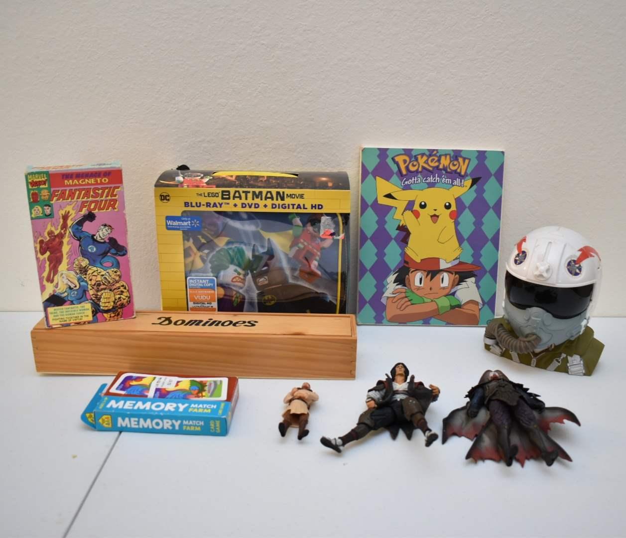 *NEW* Lego Batman Lunchbox with DVD, Dominoes, Pokemon Art, Figures, Vintage Fantastic Four VHS