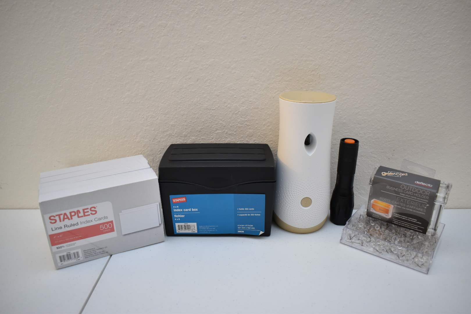 Office Supplies: Paper, Cardstock, Index Cards, Tacks, Glade Air Freshener