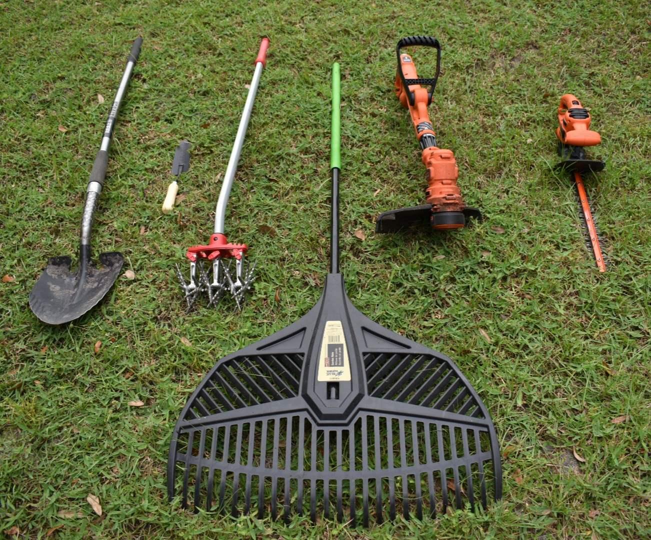 Yard Equipment: Black & Decker Weed Wacker, Saw, Rake, Shovels, Tiller