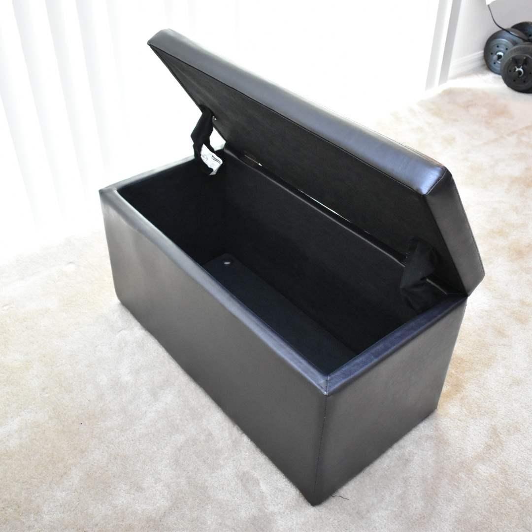 Black Faux Leather Storage Ottoman
