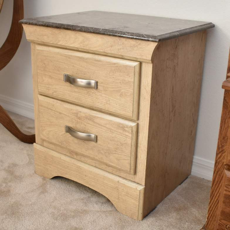 Small Light Brown & Gray Marble-Patterened Nightstand