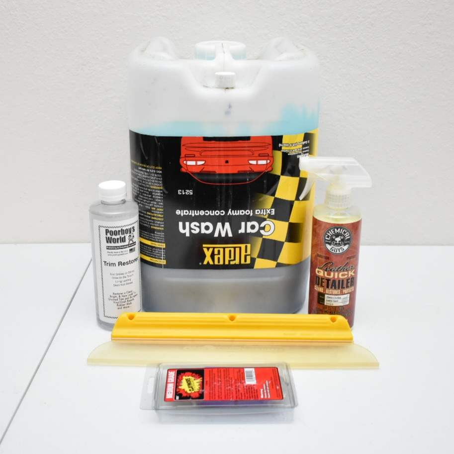 4 Gallons of Car Wash Concentrate, Chemical Guys Leather Detailer, Poorboy's Trim Restorer, Clay Bar, Squeegee