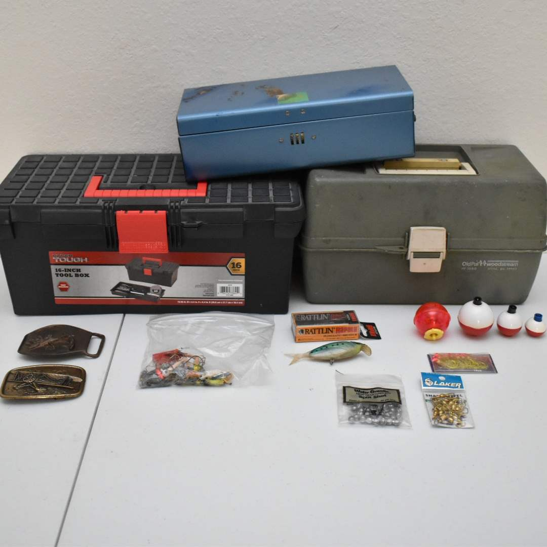 Full Tackle Box, Vintage Safety Deposit Box, & Tool Boxes