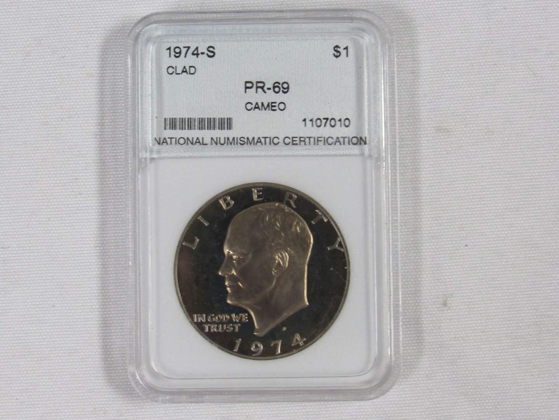 Lot # 103  High Grade 1974-S Eisenhower Dollar PR-69 Cameo Certified (main image)