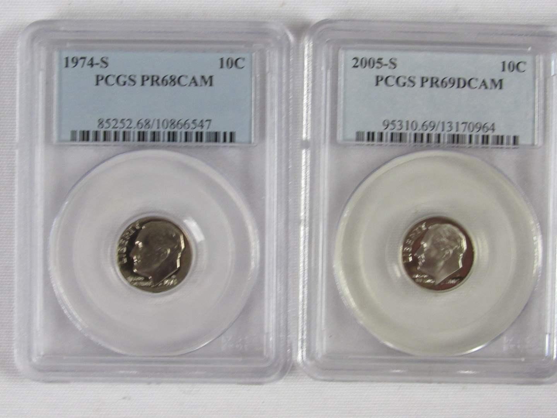 Lot # 109  2 High Grade US certified dimes 1974-D PR 68 Cam & PR69DCAM (main image)