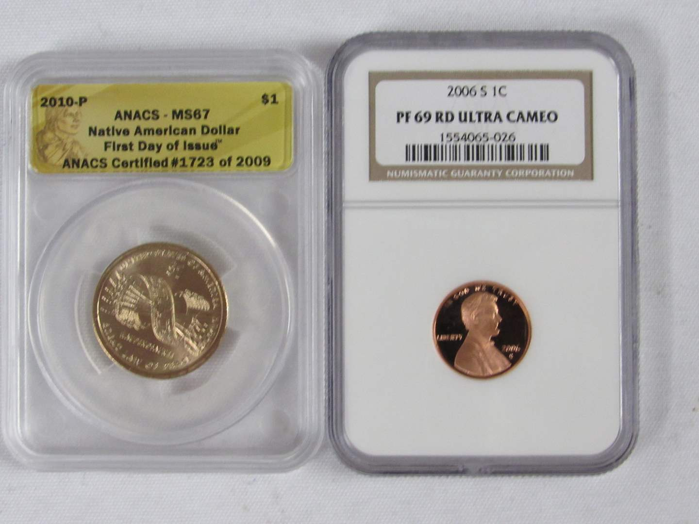 Lot # 111  2 High Grade US certified coins MS67 Dollar & PF69RD Ultra Cameo cent (main image)