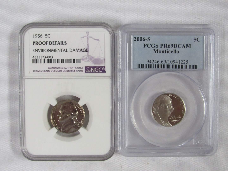 Lot # 113  2 High Grade US coins 1956 nickel Proof & PR69D Cameo (main image)
