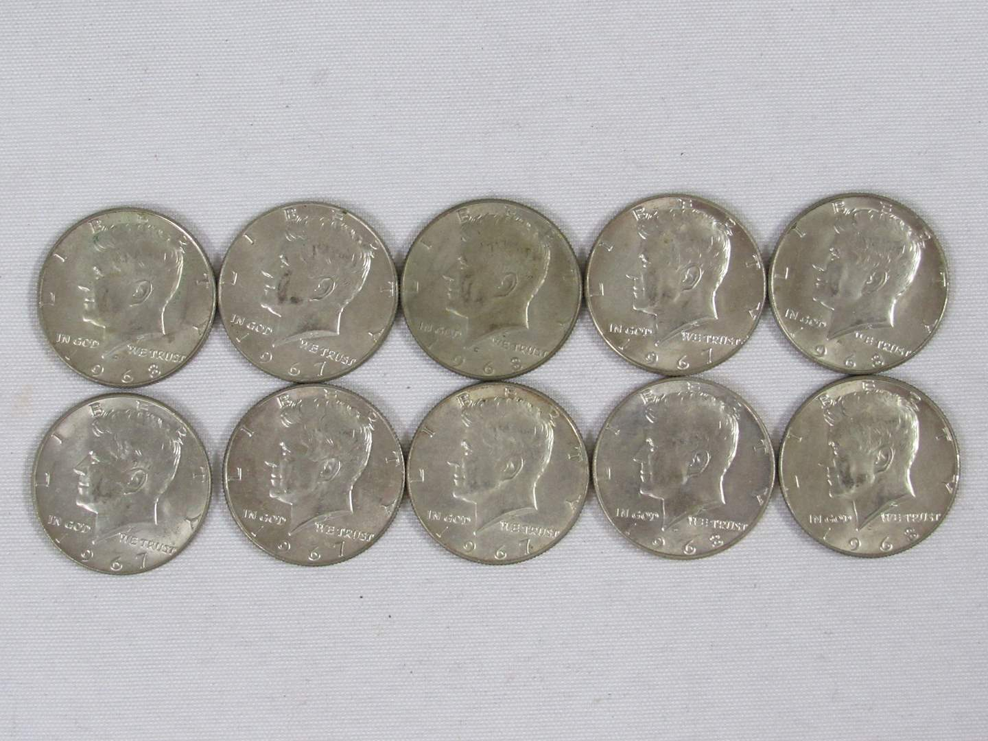 Lot # 117  Lot of 10 Kennedy Half Dollars ALL 40% silver (main image)