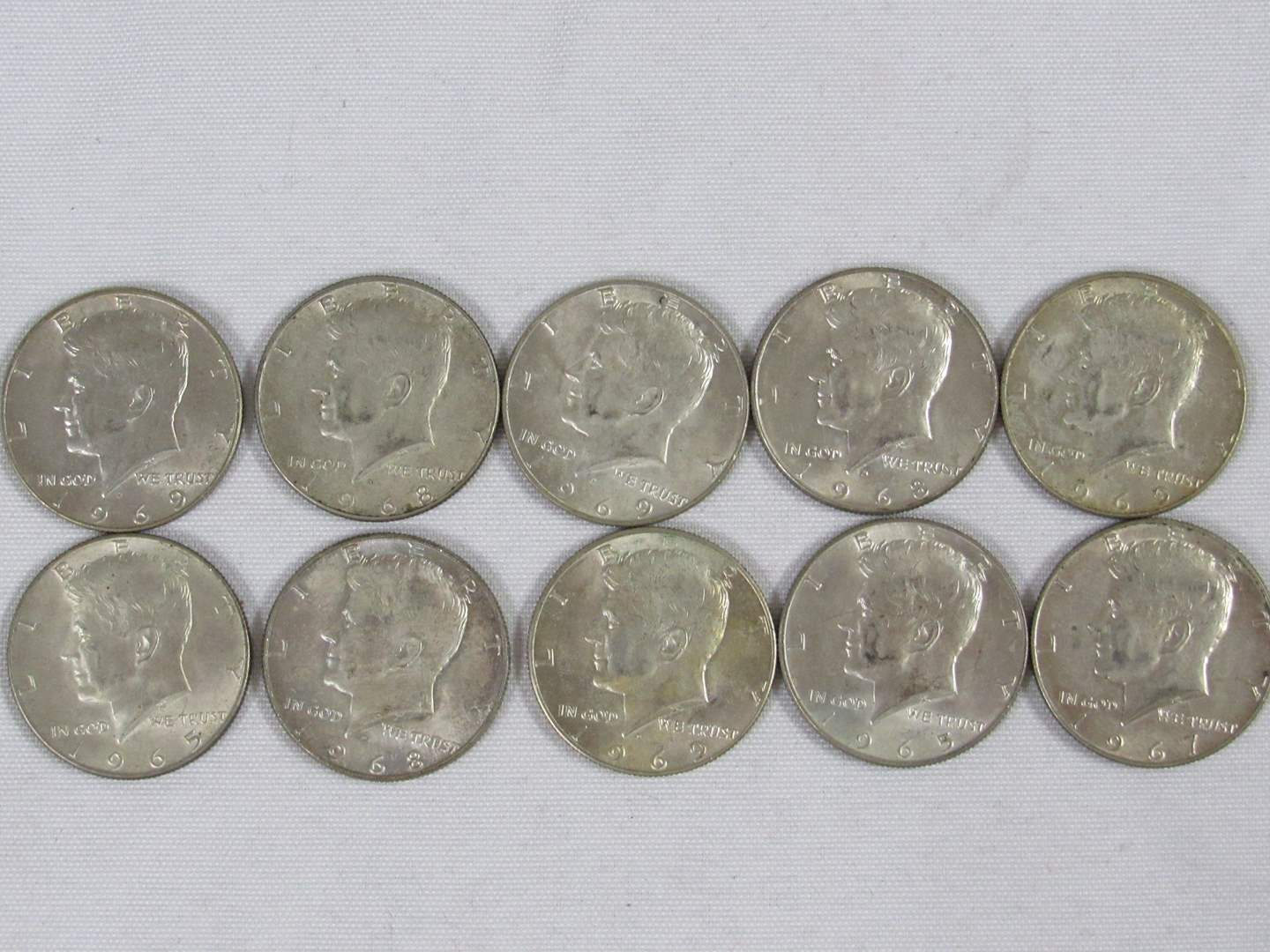 Lot # 118  Lot of 10 Kennedy Half Dollars ALL 40% silver (main image)