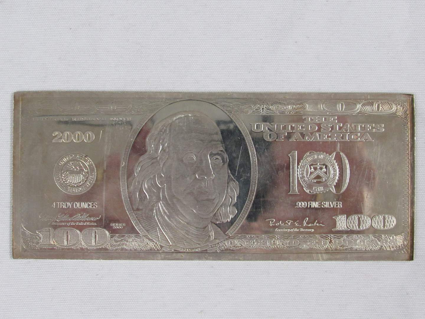 Lot # 125  AWESOME 4 FOUR troy ounce .999 Silver Bar  (main image)