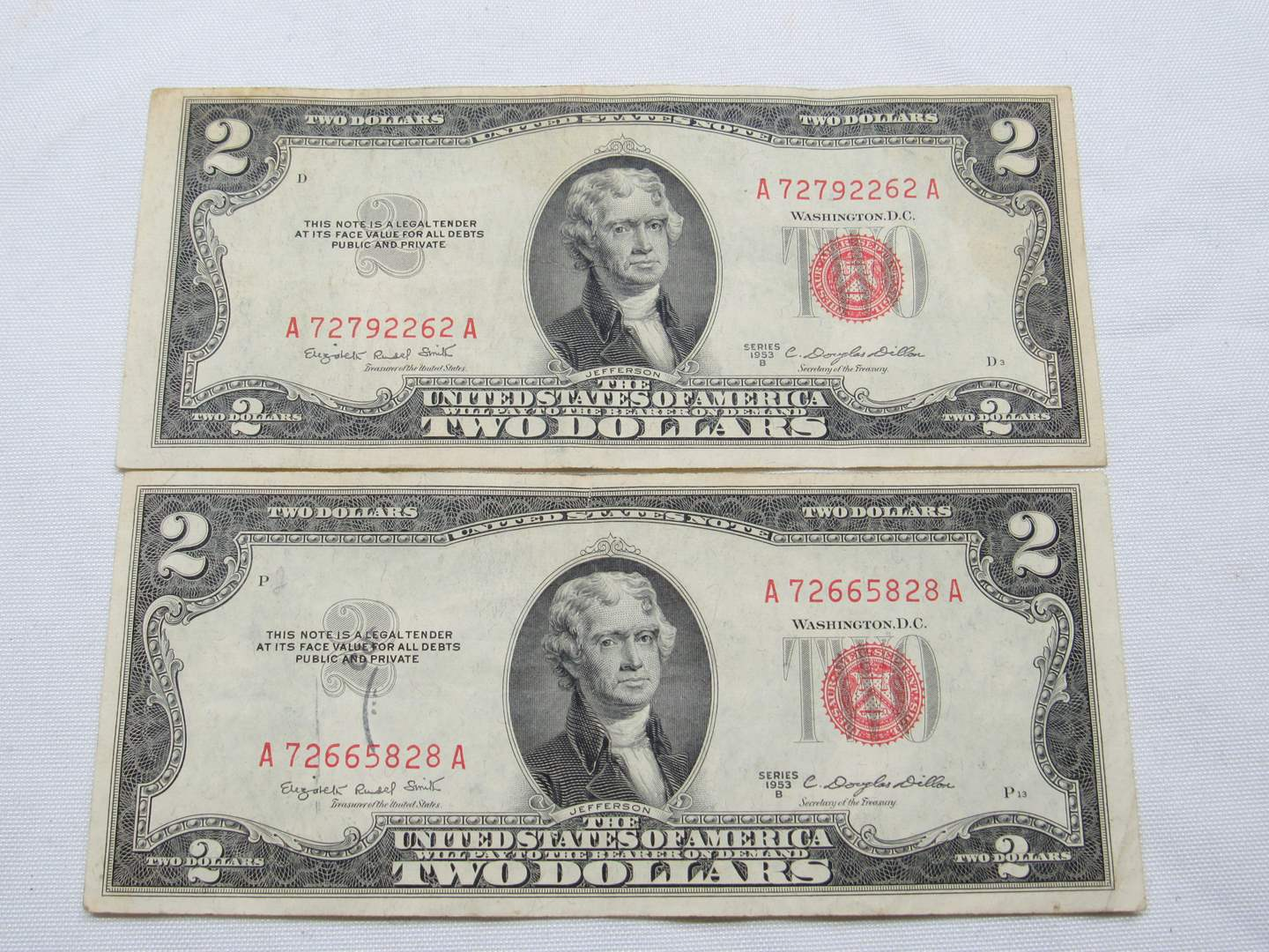 Lot # 126  2 Red Note two dollar bills (main image)