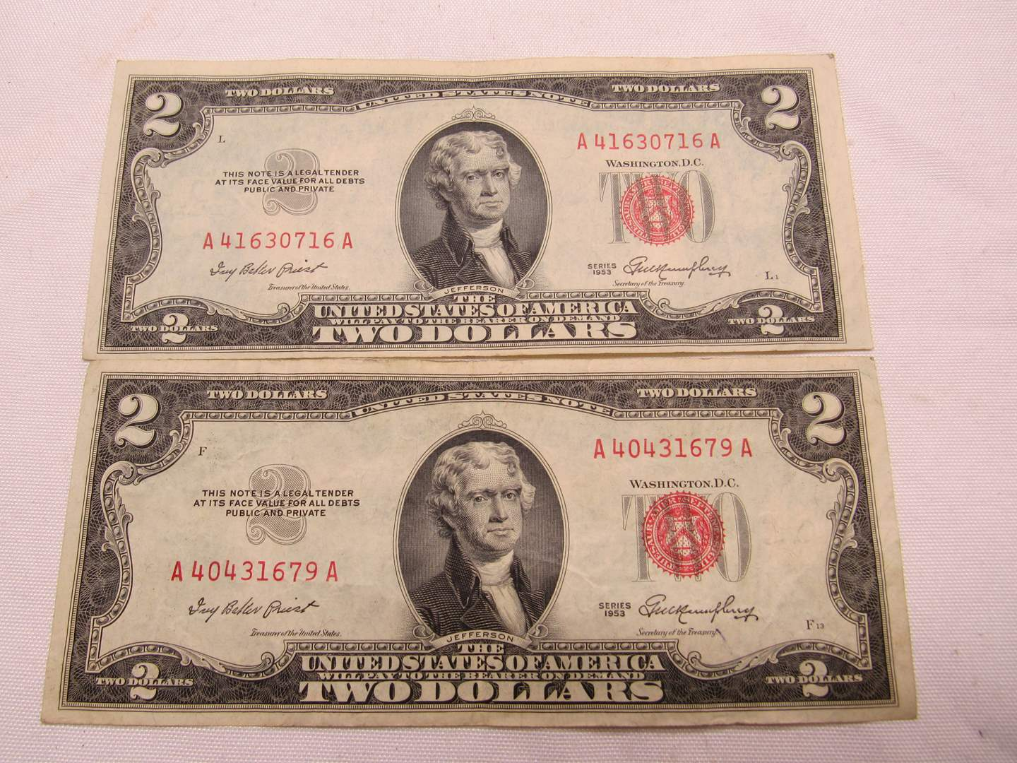 Lot # 127  2 Red Note two dollar bills (main image)