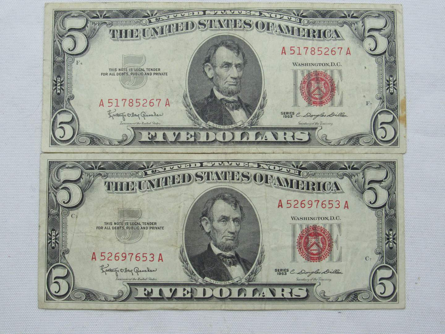 Lot # 129  2 Red Note five dollar bills (main image)