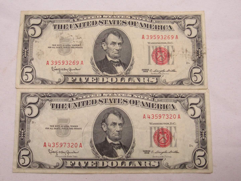 Lot # 130  2 Red Note five dollar bills (main image)