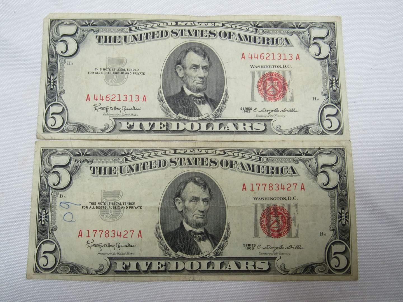 Lot # 131  2 Red Note five dollar bills (main image)