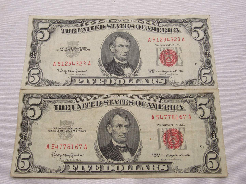 Lot # 132  2 Red Note five dollar bills (main image)