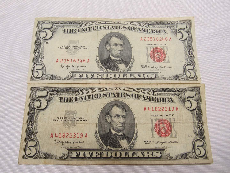 Lot # 133  2 Red Note five dollar bills (main image)