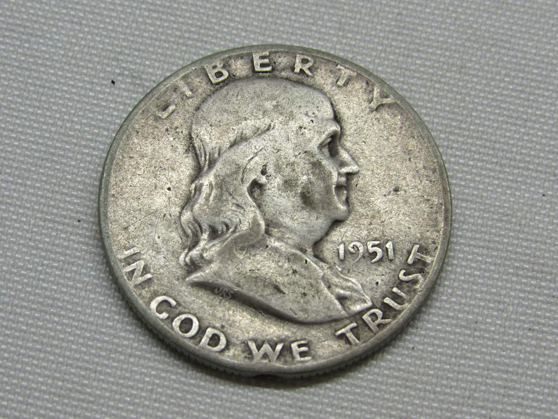 Lot # 143  1951 Franklin silver half dollar (main image)