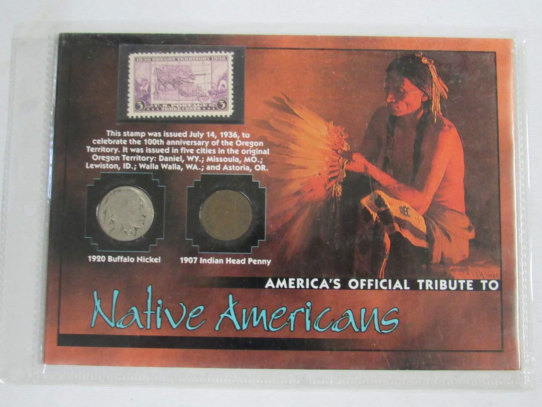 Lot # 154  Framed Buffalo Nickel & Indian Head Penny (main image)