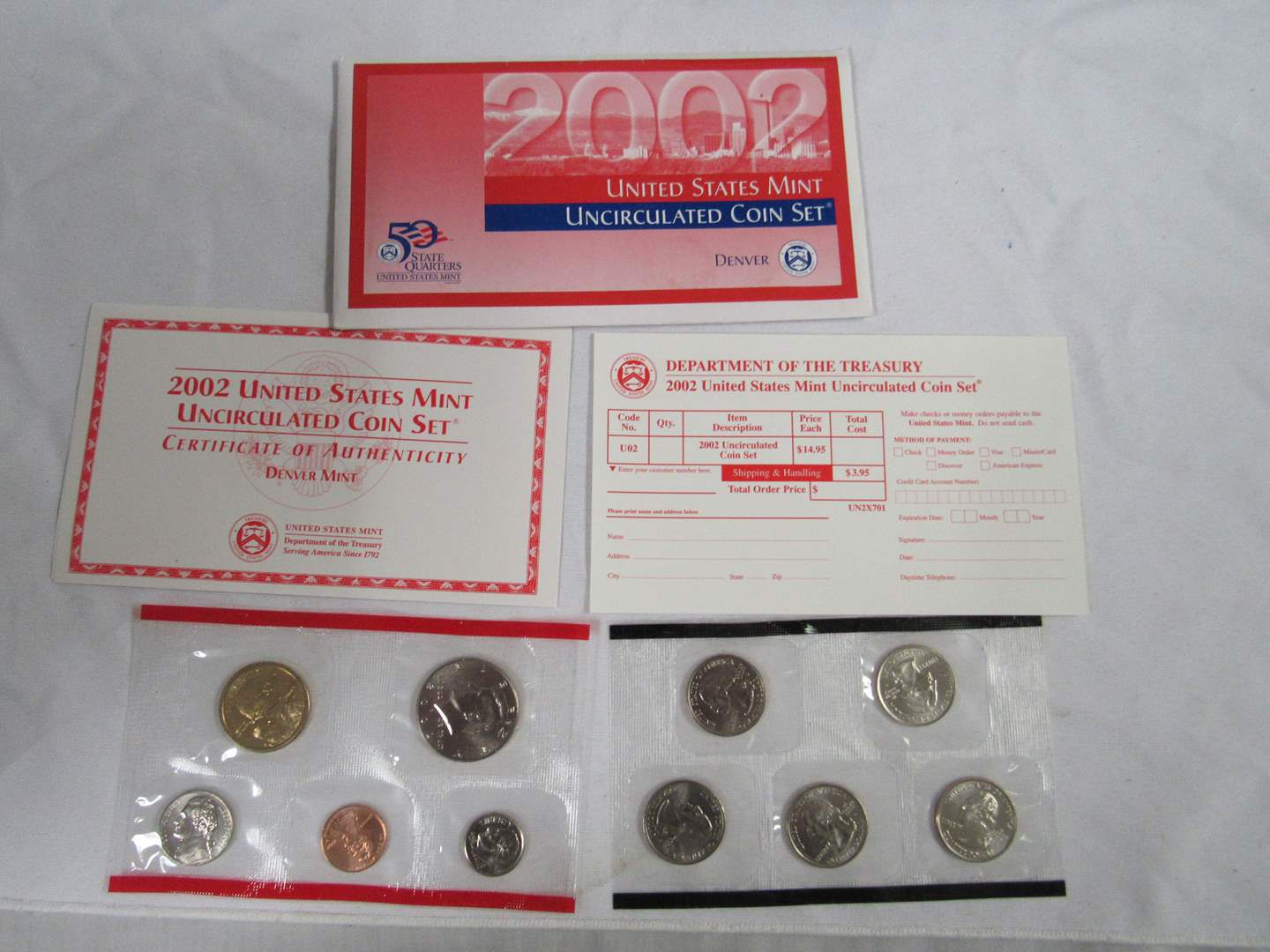 Lot # 156  2002 Uncirculated Double Coin set to include state quarters (main image)