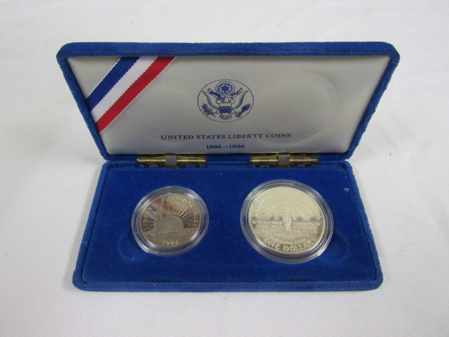 Lot # 163  1986 Ellis Island 2 coin set PROOF dollar & half dollar 40& silver (main image)