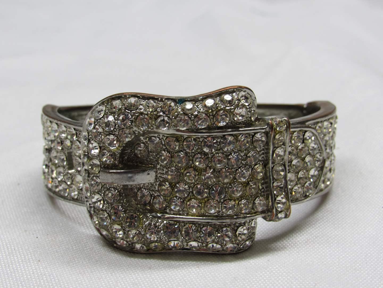 Lot # 168  Great rhinestone belt buckle bracelet (main image)