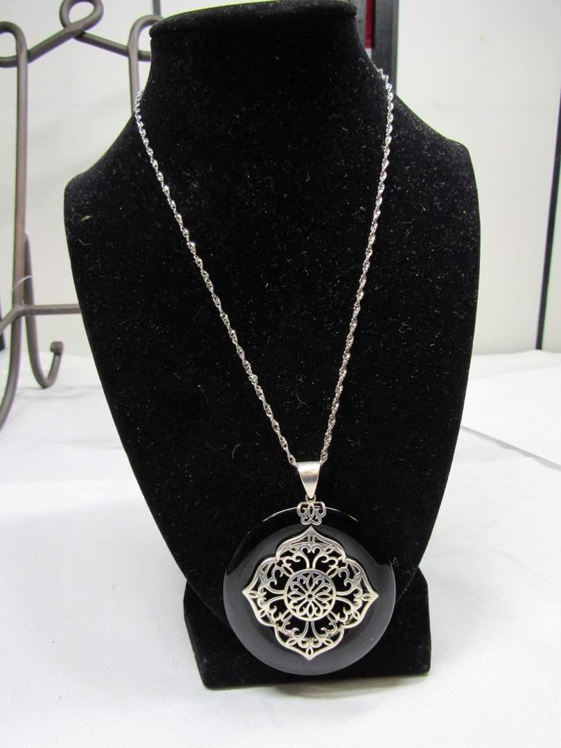"""Lot # 175  Sterling w/black only medallion pendant on 18"""" sterling necklace (main image)"""