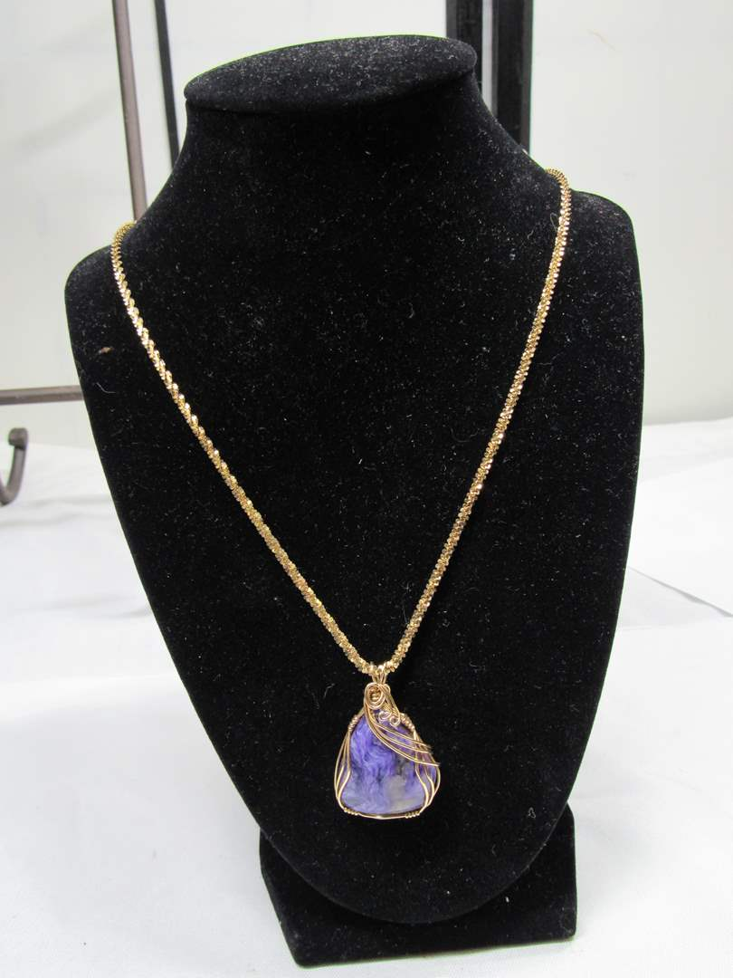 """Lot # 176  Purple stone wrapped in gold (not real gold) with sterling silver necklace 18"""" (main image)"""