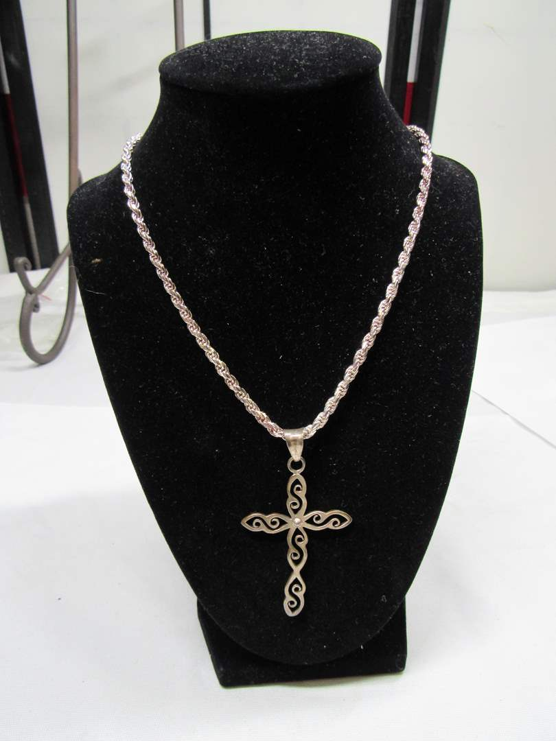 Lot # 177  Great sterling silver cross and heavy duty sterling silver necklace (main image)