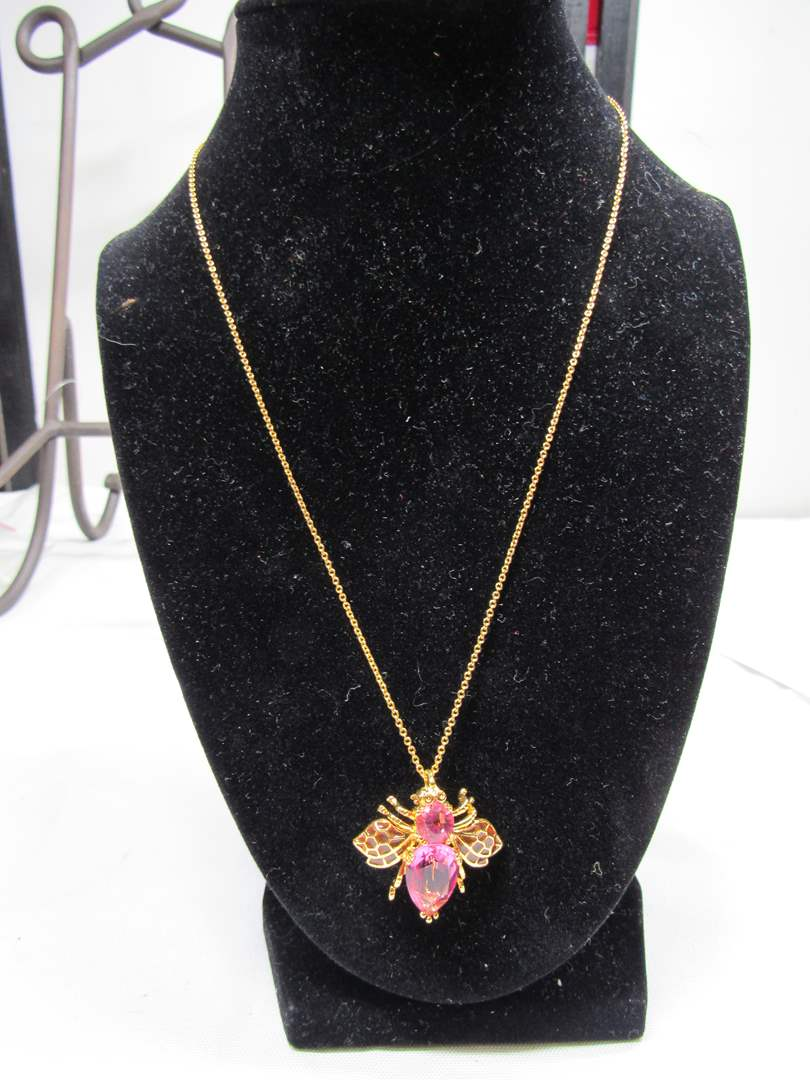 Lot # 179  Signed Joan Rivers pink bug pendant on Joan Rivers signed necklace (main image)
