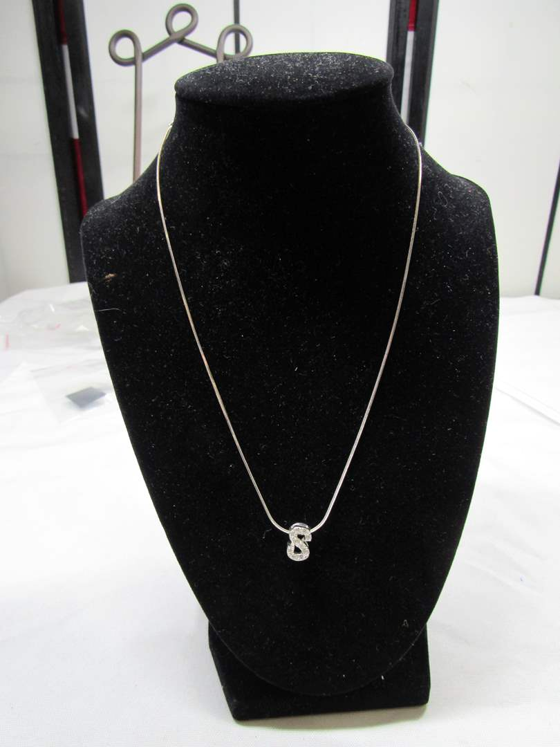 "Lot # 180  Letter S with rhinestones sterling silver pendant & 18"" sterling silver necklace (main image)"