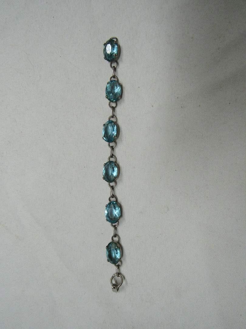"Lot # 181  Aqua blue 7"" sterling silver bracelet  (main image)"