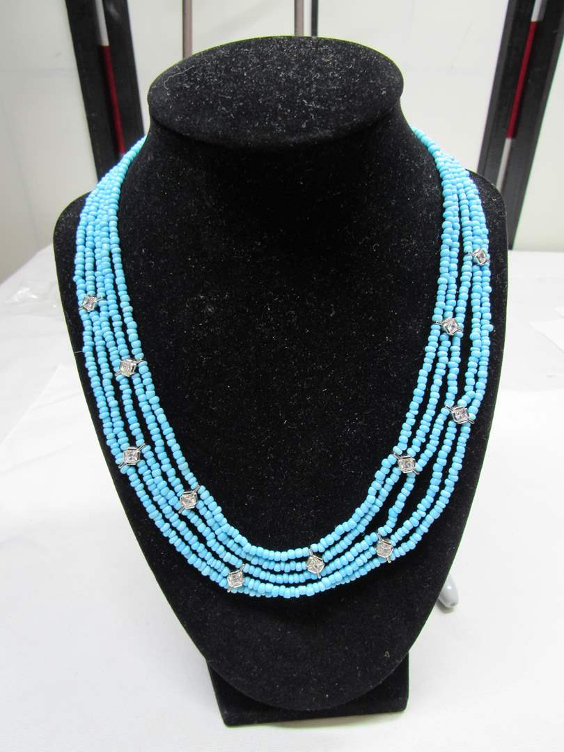 Lot # 182  Beautiful 5 strand blue stone with CZ's set in sterling silver (main image)