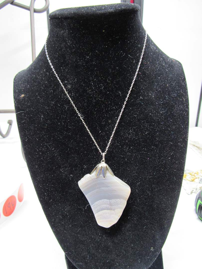 """Lot # 185  Nice polished stone with sterling silver loop & sterling silver 18"""" necklace (main image)"""