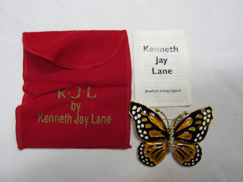 Lot # 186  Awesome Kenneth Jay Lane Enamel Butterfly Brooch (main image)
