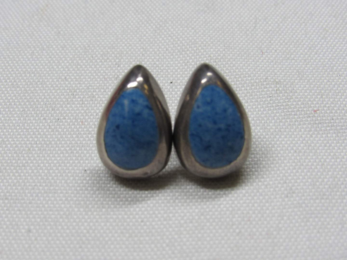 Lot # 188  Sterling silver & lapis earrings Mexico (main image)