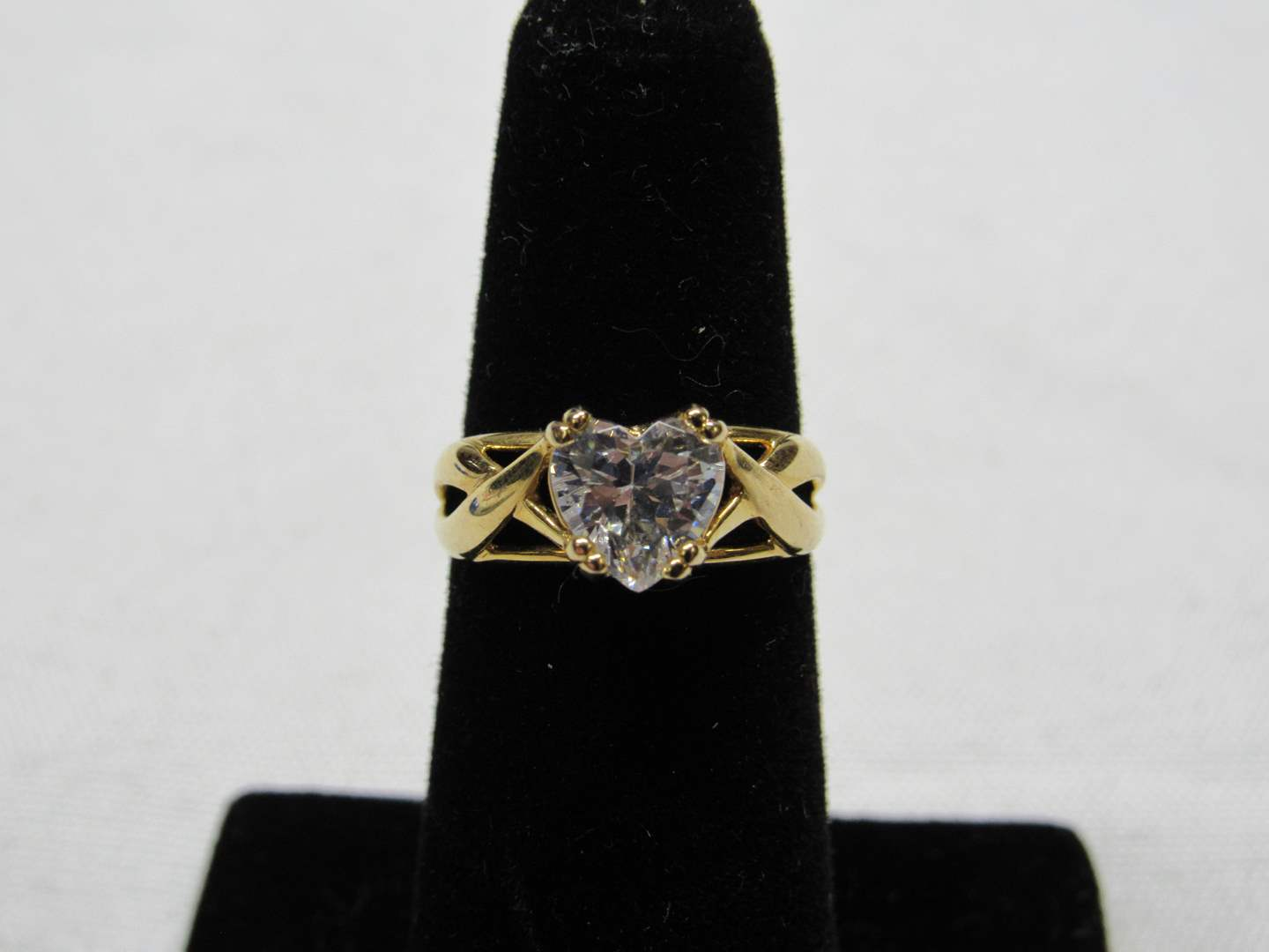 Lot # 196  Heart CZ ring gold over sterling silver Size 8 (main image)