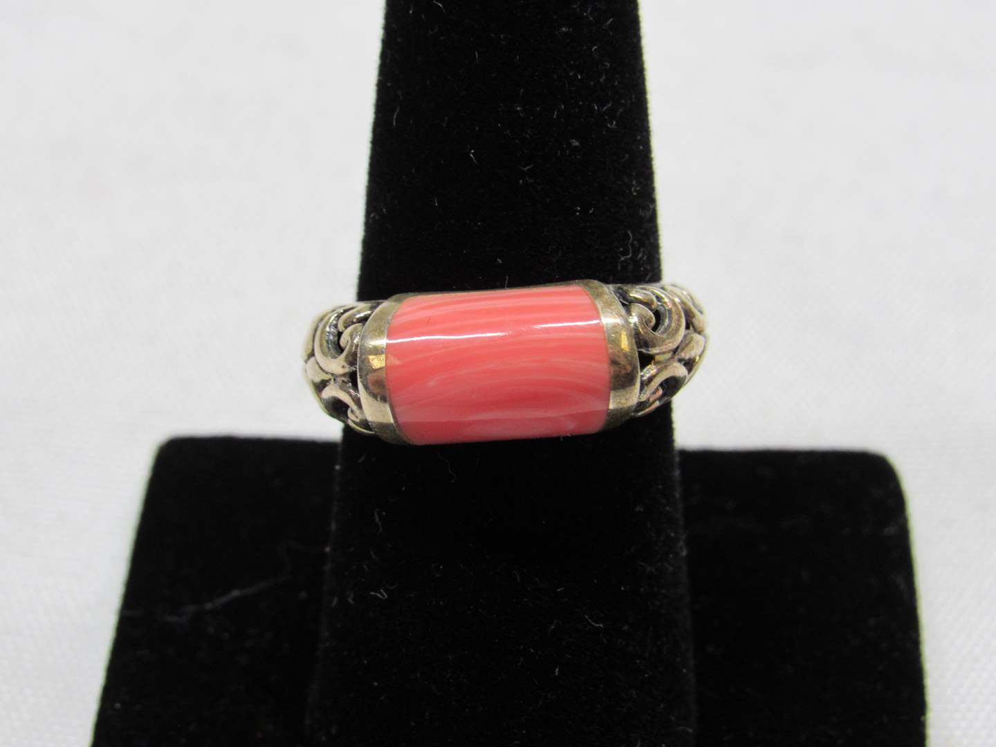Lot # 199  Brighton STYLE sterling silver ring with pink stone size 8 (main image)