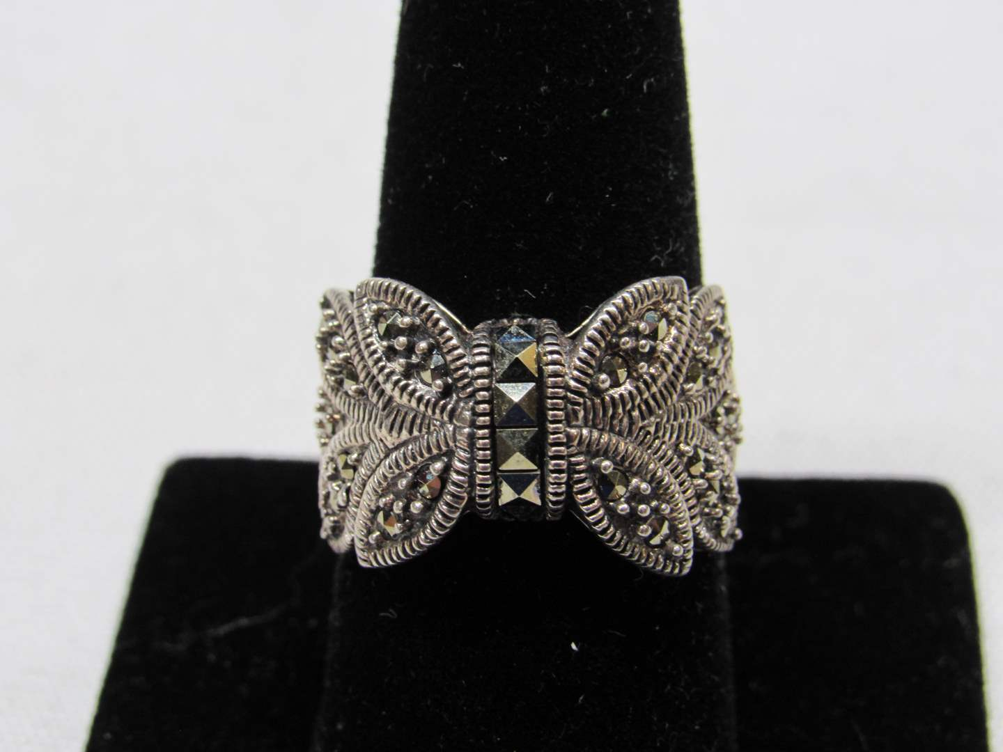 Lot # 200  Sterling silver & Marcasite butterfly ring size 5 (main image)