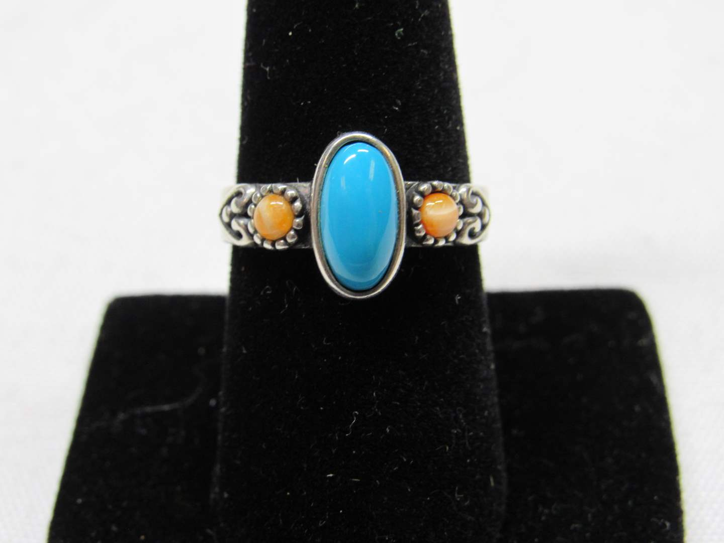 Lot # 203  Blue & coral (colored) stones sterling silver ring signed size 8 (main image)