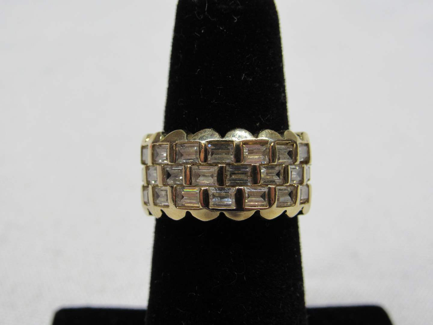 Lot # 206  Gold over sterling silver & CZ's ring size 5 (main image)