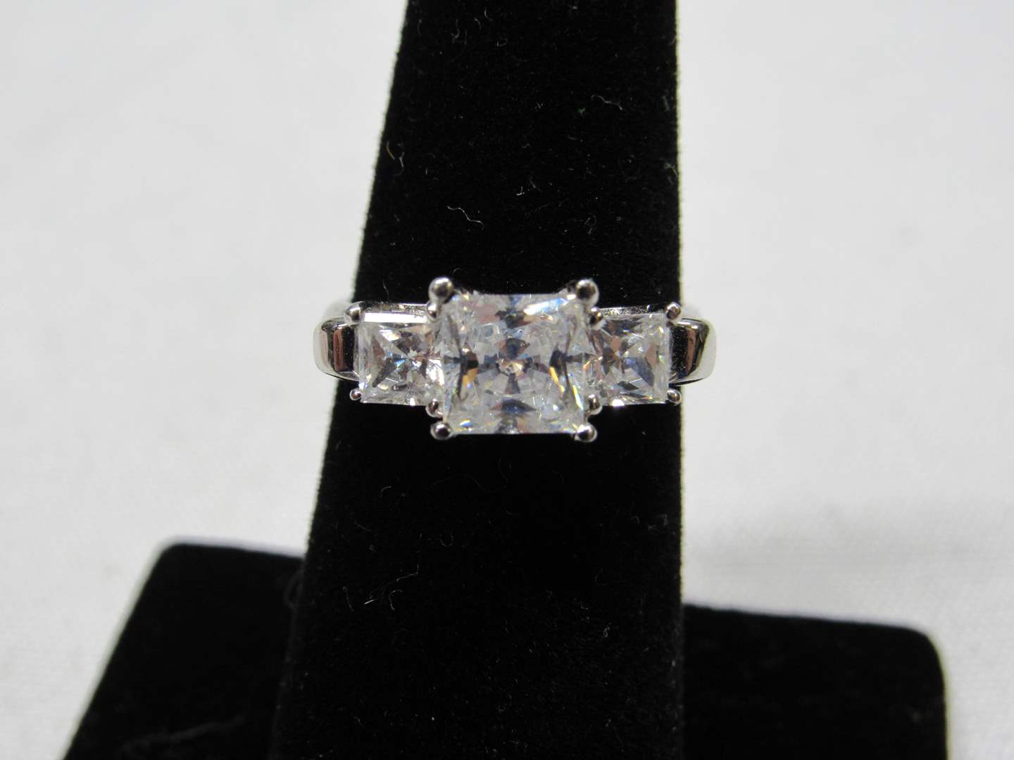 Lot # 207 Sterling silver & CZ's size 6 ring (main image)