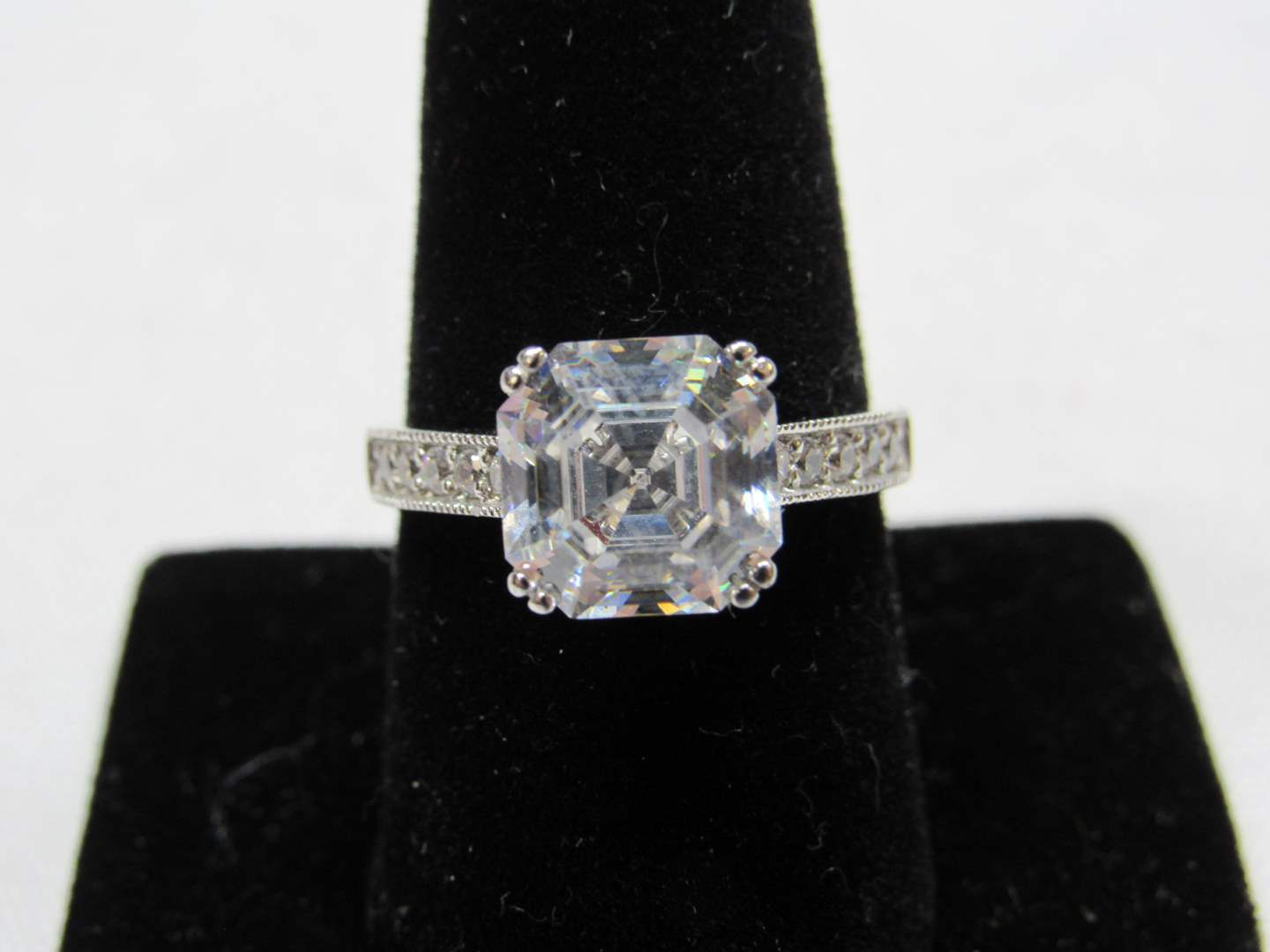 Lot # 208  Sterling silver & LARGE CZ ring 9 (main image)