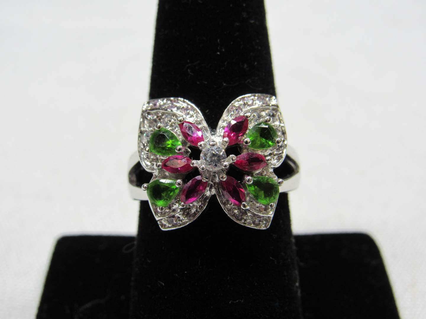 Lot # 210  AWESOME BLING Butterfly sterling silver size 8 (main image)