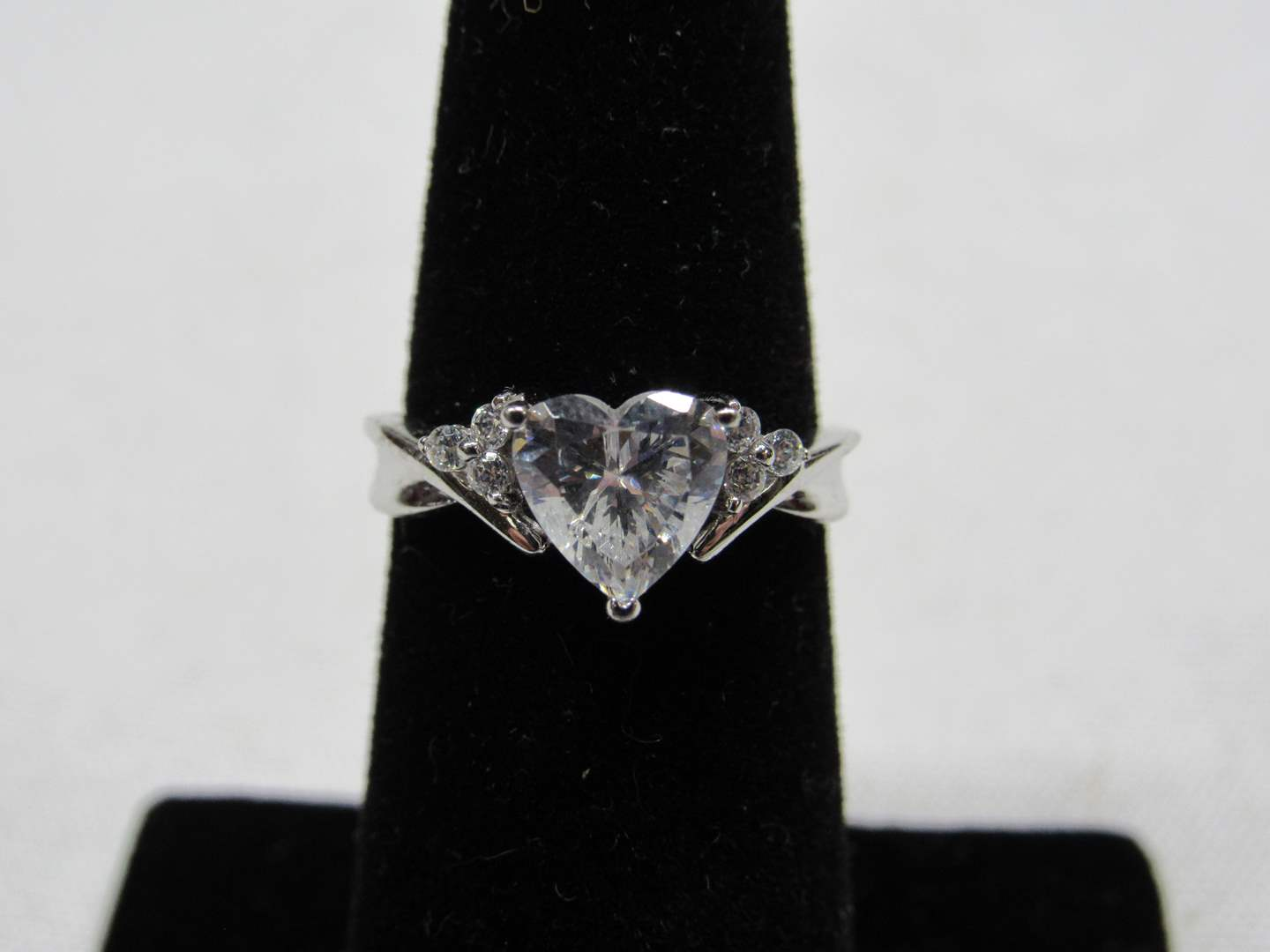 Lot # 211  Sterling silver & heart CZ sterling silver ring size 6 (main image)