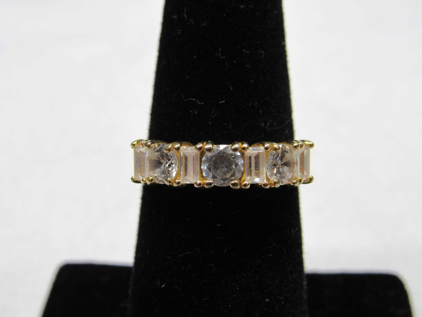 Lot # 212  Gold over sterling silver CZ's size 6 ring (main image)