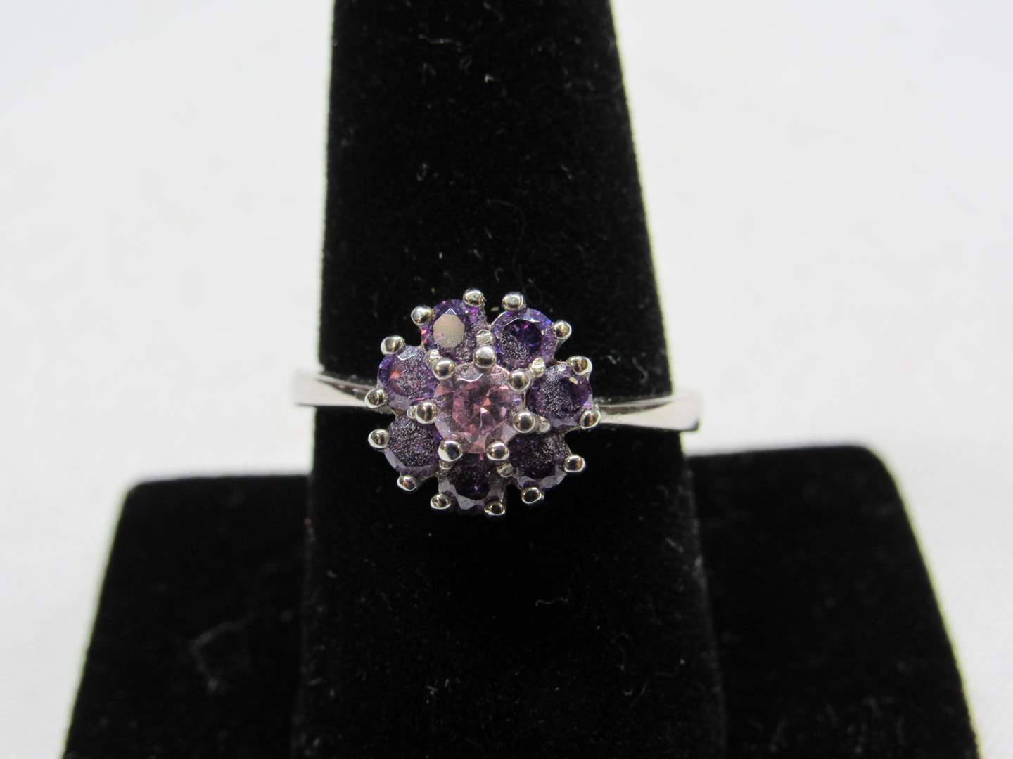 Lot # 213  Nice flower Amethyst & sterling silver ring size 9 (main image)
