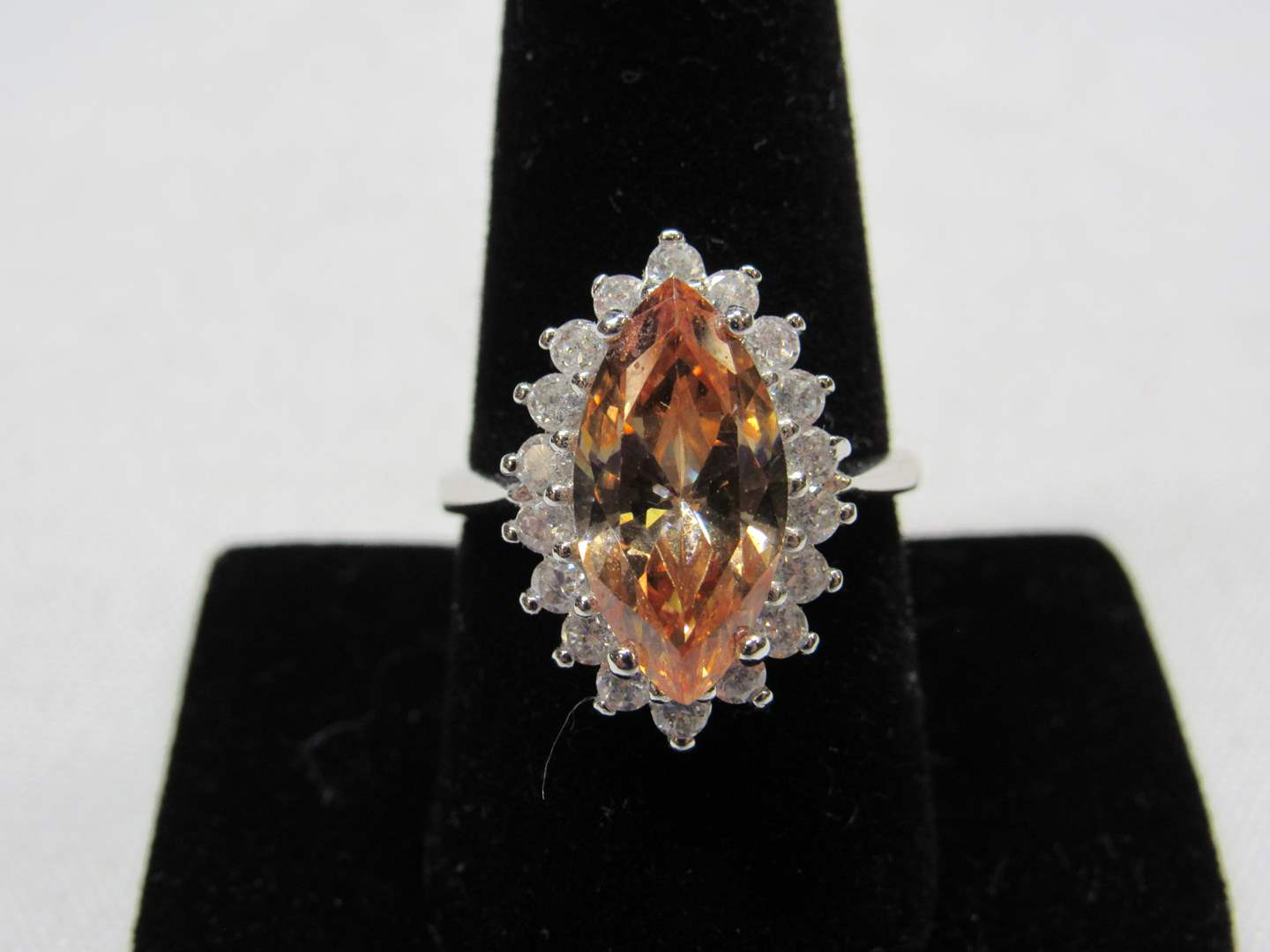 Lot # 214  WOW BLING large orange & CZ's sterling silver ring size 9 (main image)
