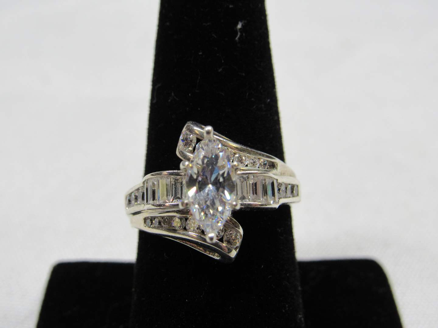 Lot # 215  Marquis CZ sterling silver ring size 8 (main image)